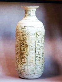 Stamped ceramic vase by Gerard Brehm