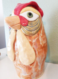 Green Eyed Rooster Bank by Michelle Mills